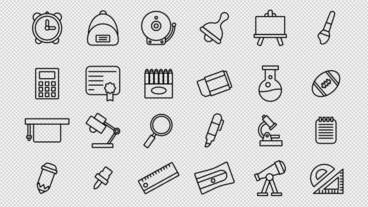 Back To School Icons Motion Graphics Template