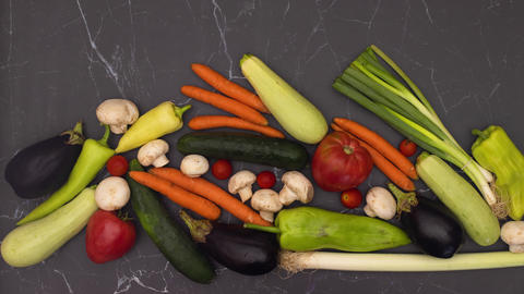 Stop motion animation of fresh and organic vegetables appear on kitchen table Animation