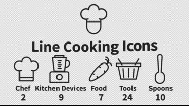 Line Cooking Icons Motion Graphics Template