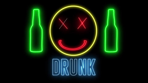 """Neon light of a bottle beer, drunk emoji and text of """"DRUNK"""". Concept of drinking alchol, bar or Animation"""