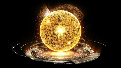 Futuristic Holographic Nuclear Fusion Particles Simulation Animation