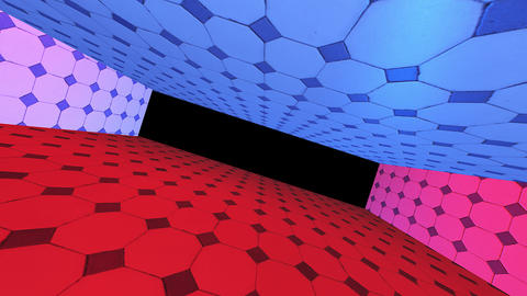 Red blue tunnel, abstract dark technology way. Modern creativity, alpha channel end of the tunnel CG動画