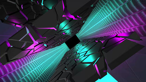 Cyan and purple colored, hi tech tunnel with futuristic ground and walls. Rotating perspective and Animation