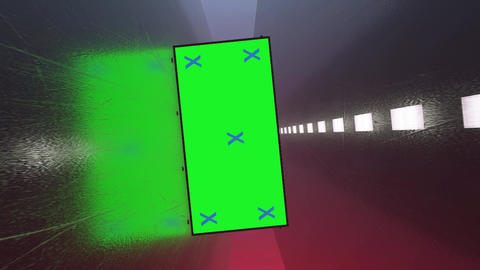 Dark, black futuristic metal corridor and blank green screen alpha channel billboard with tracking Animation