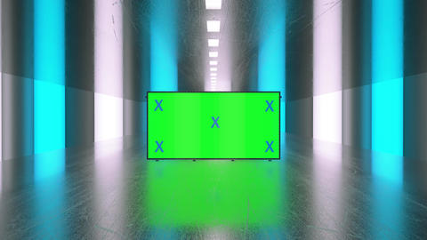 Empty, blank green screen billboard for advertisement. Technology and future concept, metal hall Animation