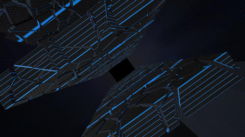 Hi tech tight tunnel with broken walls with blue lines. Sci fi, Hi tech concept, abstract creative Animation