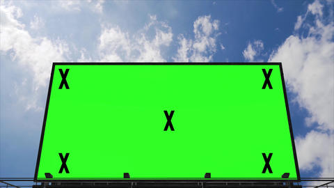 Billboard with green screen and tracking markers. Video mock up for advertisement, promotion. Big Live Action