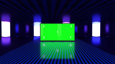 Abstract creative tunnel and green screen alpha channel billboard mock up. Neon, blue purple led Animation