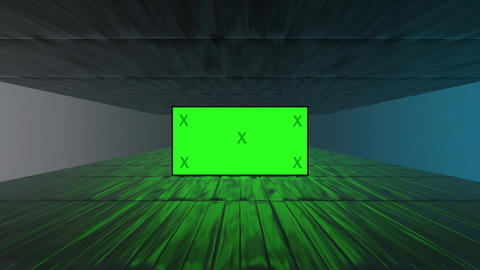 Abstract creative wood ground and blank, green screen billboard 3D rendering Animation