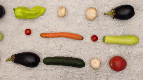 Top view of vegetables moving on kitchen table in looping stop motion animation Animation
