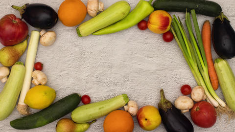 Stop motion of frame made of fresh and organic vegetables Animation