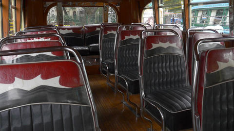 Interior design seats of a Key model of the 1940´s Argentinian Urban Bus public Footage