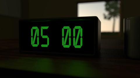 Alarm clock at 5:00 a.m Animation