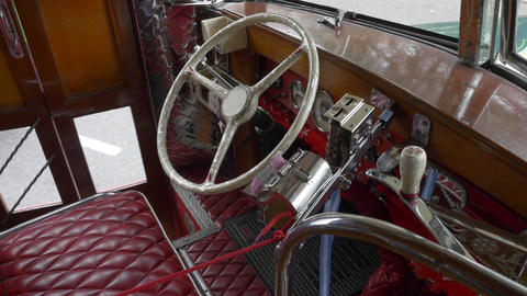 Interior design drivers seat of a Key model of the 1940´s Argentinian Urban Bus Footage