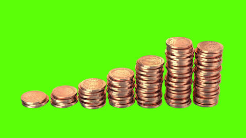 Growing Coins on a Green Background Animation