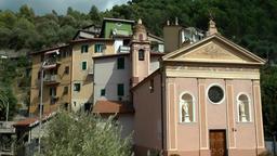 Europe Italy Liguria Airole village 001 church of Trucco at main street Footage
