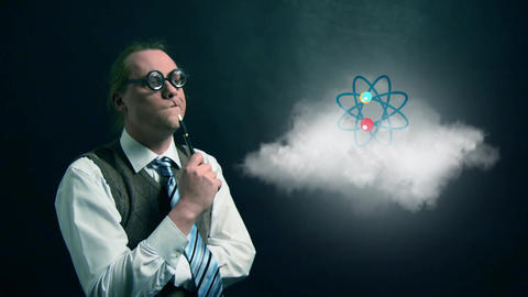 Funny nerd or geek looking to flying cloud with rotating atom science icon Footage