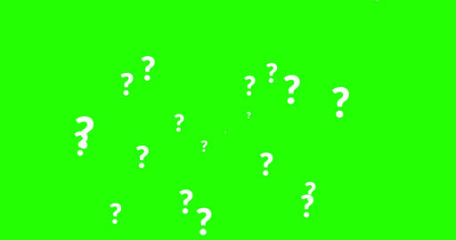 animation of a lot of white question mark moving on chroma key green screen Footage