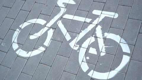 pedestrian feet crossing bike path sign, conflict, crowd, bicycle friendly city Live Action