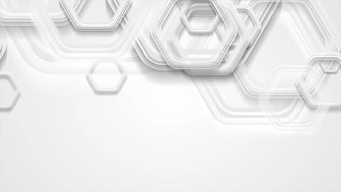 Abstract grey tech motion background with hexagons Animation