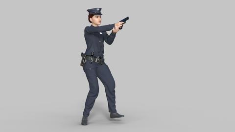 3d model woman policeman shoots a pistol, transparent background Live Action
