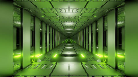 green tunnel corridor 3d rendering illustration background wallpaper motion Animation