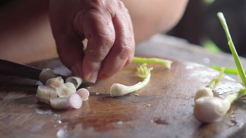 Spring onion get slicing by knife in lady hands. Preparing for cooking. Vegetarian Footage