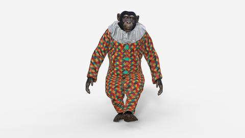 3d model monkey walking, transparent background Live Action