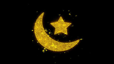 Eid Islamic Icon Sparks Particles on Black Background