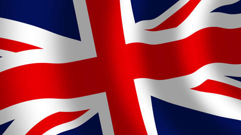 United Kingdom union jack flag waving in the wind closeup, seamless loop Animation