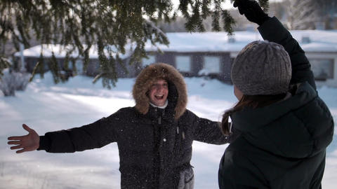 A young woman shakes a pine branch with snow on her man, male hugs female Footage