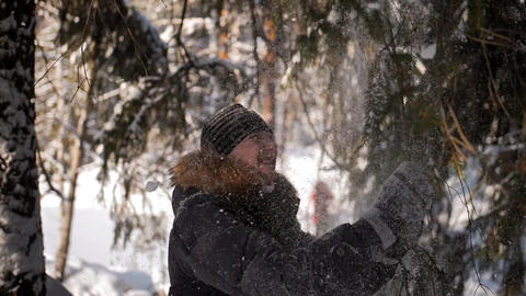 Male shakes a snowy tree branch on his head Footage