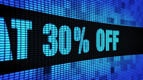 Flat 30% Percent Off Side Text Scrolling LED Wall Pannel Display Sign Board Footage