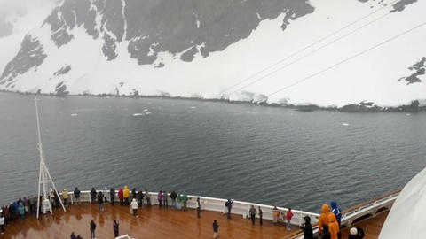 Cruise ship entering Lemaire Channel, Antarctic Peninsula, Antarctica Footage
