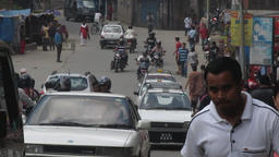 Busy road scene in central Kathmandu Nepal - before earthquake Footage