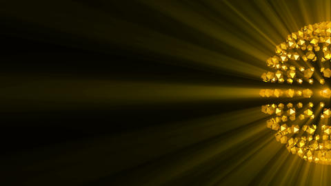 Gold sphere background reflective shine light particles Animation