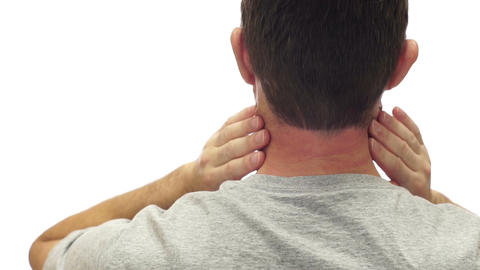 Male Neck Pain Isolated on White Live Action