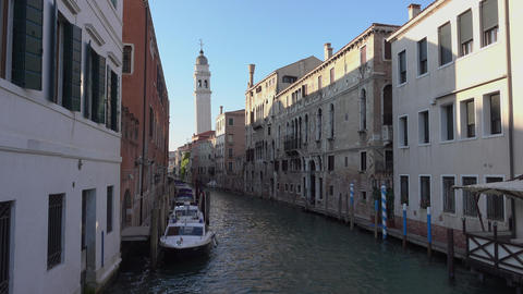 The canals in the historic city center of Venice Footage
