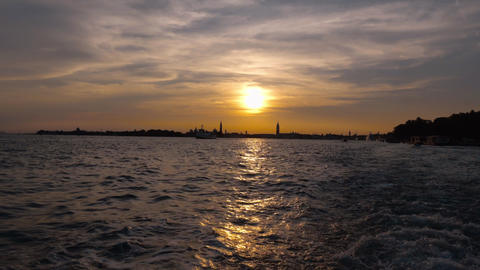 Beautiful sunset - view from a boat in Venice Italy Footage