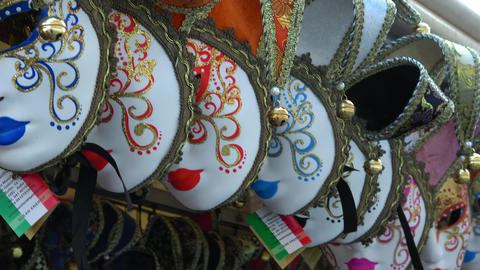 Venetian masks on sale in the city of Venice Footage