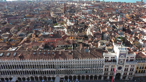 Panoramic aerial view over the city of Venice Italy Footage