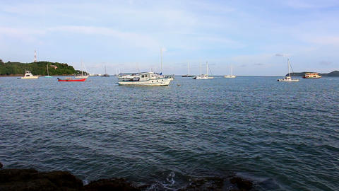 Yacht and boat anchored near the beach Footage