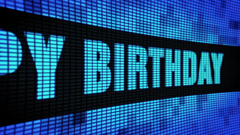 80th Happy Birthday Side Text Scrolling LED Wall Pannel... Stock Video Footage