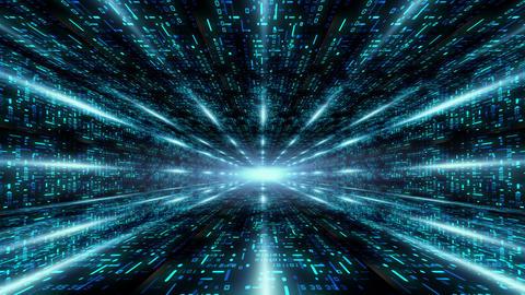 Futuristic sci fi warp tunnel digital data Abstract motion background Animation
