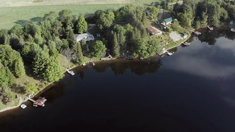 4K Aerial Establishing Shot of Cottage Country Footage