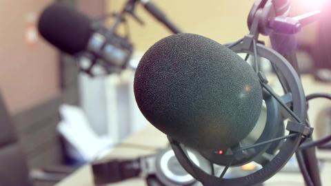 Professional Microphones In Recording Studio Live Action
