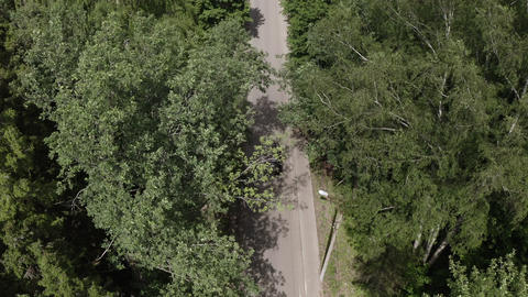 Top view car moving on countryside road through summer forest. Aerial view japanese car driving on Footage