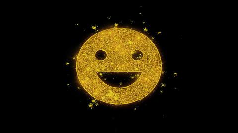 Big Smile Emoji Icon Sparks Particles on Black Background Live Action