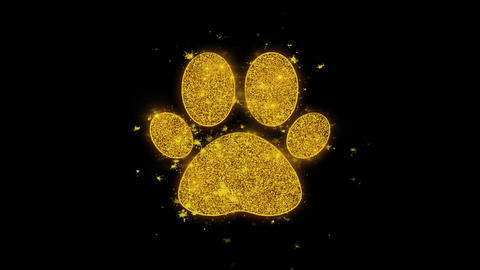 Paw Icon Icon Sparks Particles on Black Background Live Action