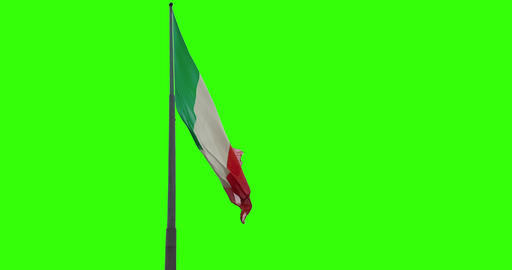 waving fabric texture of the tricolor flag of italy, italian patriotic concept on chroma key with Live Action